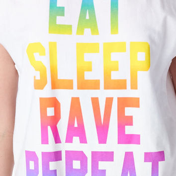 EDC Festival Eat, Sleep, Rave, Repeat White Verbiage Message Muscle Tank