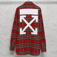 OFF-WHITE 2019 new men and women models wild ruined edging plaid shirt Red