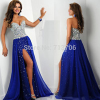 New Arrival 2015 Free Shipping Blue Chiffon Mermaid Handmade Beads Slit Chiffon Long Sexy Prom Dresses