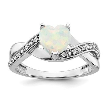 14k White Gold Created Opal and Real Diamond Heart Ring