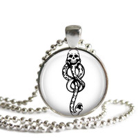 Harry Potter Dark Mark Silver Plated Pendant Necklace Handcrafted Jewelry