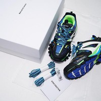 KUYOU B301 Balenciaga Tess S. Gomma Trek Low Top Sneakers Black Blue Green