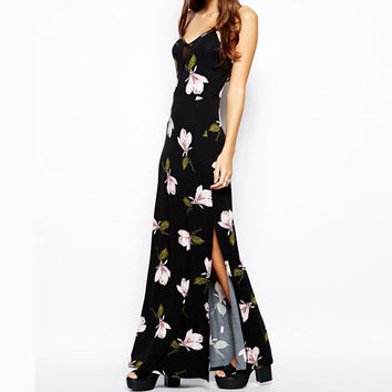 Black Floral Print Sleeveless V-Neck Maxi Dress