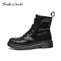 2017 Autumn Winter Shoes For women ankle boots Genuine Leather boots women Martin boots Lace-up platform Combat motorcycle boots