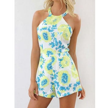 Floral Halter Backless Romper Jumpsuit