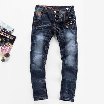 Men Jeans Slim Blue Rinsed Denim Jeans [6541740099]