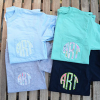Monogram Pocket Tee, monogrammed pocket t shirt, monogram pocket tshirt, Applique monogram pocket tee for women