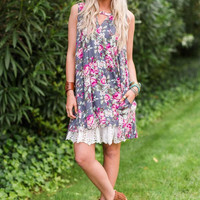 Button Swing Floral Tunic