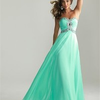 Empire Strapless Ruched Bodice Beaded Chiffon Prom Dress PD2083