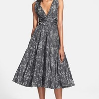 Women's Tracy Reese Shirred Satin Fit & Flare Dress,