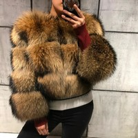 raccoon fur coat women real fur coat natural raccoon fur coat