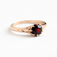 Antique Victorian 14k Rose Gold Garnet Ring - Size 6 1/4 Late 1800s Swirled Filigree Fine Red Gemstone Jewelry