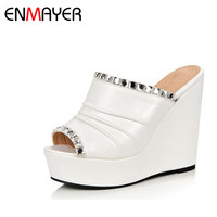 ENMAYER Spring Summer Hot NEW Sexy High Heel Wedges Women's Pumps Platform Peep Toe Sandals Ankle Strap for Women Slippers Shoes