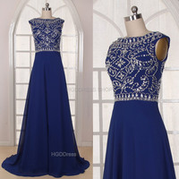 Royal Blue Bridesmaid Dress Handmade beading/Crystal Rhinestone Chiffon Prom Dress Long Prom Dress Party Dress Long A-Line Formal Dress