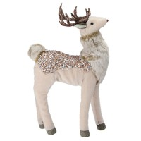 """13"""" Champagne Gold Standing Deer Christmas Decoration"""