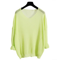 Yellowish Green Batwing Long Sleeve Paneled Knit Blouse