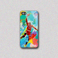Michael Jordan Slam Dunk Painting - Print on Hard Cover for iPhone 4/4s, iPhone 5/5s, iPhone 5c - Choose the option in right side