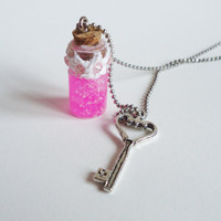 PINK GLITTER - glass bottle jewelry