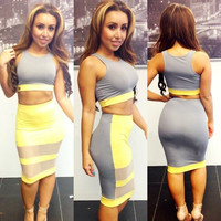 Gray And Yellow Crop Tank top + Mesh Skirt