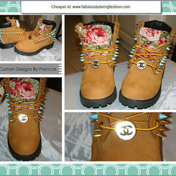 Big SALE - Spiked Tan Floral Print One of a Kind Style Studded Timberland Boots Unisex Size 5-16