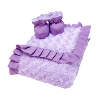 Luxe Gift Set - Lilac And Plum Swirl Velour Blanket And Booties