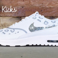 Blinged Out Nike Air Max Thea Running Shoes - Blinged Out With Swarovski Elements Crystal Rhinestones - White/Cheetah - Bling Nike Shoes