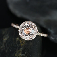 Kubian Original Size 14kt Rose Gold Thin Round Morganite Halo Engagement Ring (Other metals and stone options available)