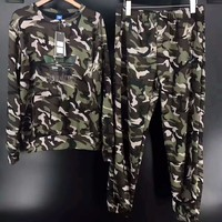 ADIDAS Fashion Sport Casual Camouflage Long Sleeve Long pants Print Casual Two piece G-A-GHSY-1