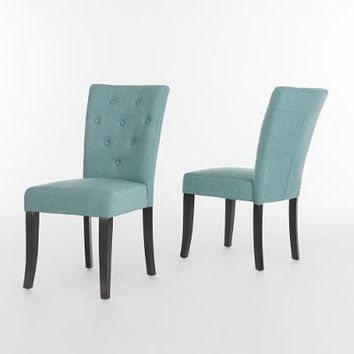 Noble House Nyomi Fabric Tufted Dining Chair (Set of 2)