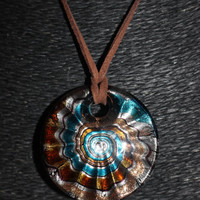 Murano Glass Circular Spiral (Gold, Blue, White) Pendant Necklace