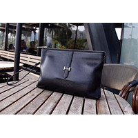 HERMES MEN'S NEW STYLE LEATHER ZIPPER HAND BAG