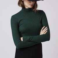 TALL Ribbed Funnel Neck Top - Topshop