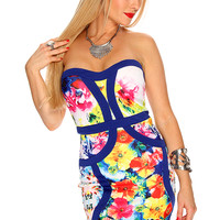 Navy Floral Print Strapless Bandage Cute Summer Party Dress