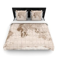 "Kess InHouse 68 by 88-Inch Catherine Holcombe ""Emerald World"" Woven Duvet Cover, Twin, Vintage Map"