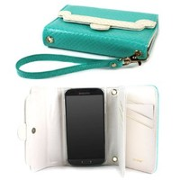 JAVOedge Cross Pattern 9 Cards Slot Wallet Case with Wristlet for the Samsung Galaxy S4 (Turquoise)