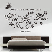 "Home Decoration ""Love The Life You Live"" Bob Marley Quotes Vinly Art Wall Sticker Living Room Decals Wall Decor"