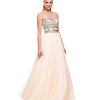 Nude Embellished Sweetheart Gown 2015 Prom Dresses