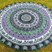 The Kessa Round Boho Bohemian Mandala Yoga Wall Table Tapestry