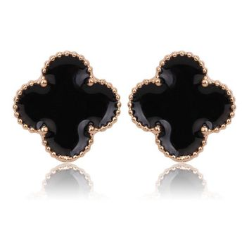 Beady Cleef Single Stud - Gold & Black