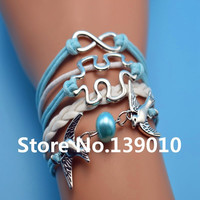 Vintage Silver Bird Bead Puzzle Infinity Charm Bracelet Leather Rope