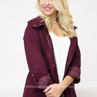 Charlie Drawstring Jacket | Burgundy