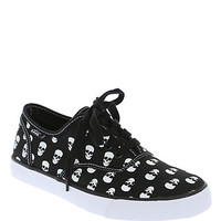 Cute To The Core Prime Black White Skull Canvas Shoes
