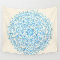 Pale Blue Pencil Pattern - hand drawn lace mandala Wall Tapestry by Micklyn