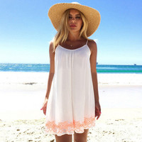Women Floral Printed Floral Printed Backless Spagehetti Strap One Piece Dress _ 12014