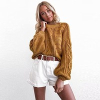 Lantern Sleeve Cut Out Knit Pullover Sweater