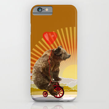Big Bear with bicycle iPhone 4 4s 5 5s 5c, ipod, ipad, pillow case and tshirt iPhone & iPod Case by Three Second