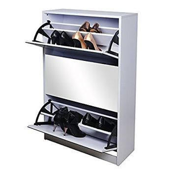 GLS White Wooden Mirrored Shoe Cabinet Storage with 3 Doors for Entryway