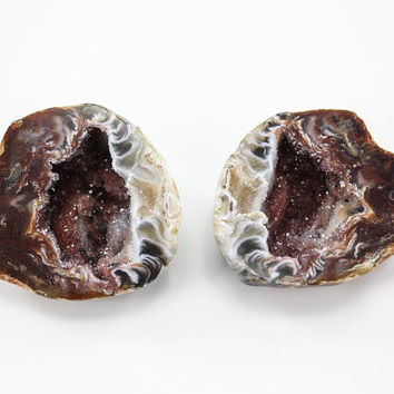 Druzy agate geode pair - small oco from Brazil