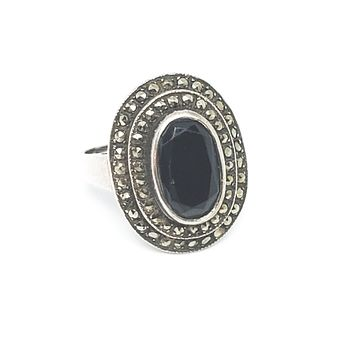 Art Deco marcasite black gemstone sterling silver ring signed W 925 size 6