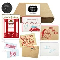 Christmas Stationery Box Set (4 cards, 3 postcards, 2 gift tags, holiday stickers)